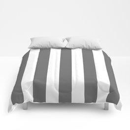 Dim gray - solid color - white vertical lines pattern Comforters