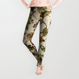 Red Green Jacobean Floral Embroidery Pattern Leggings