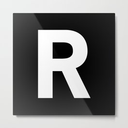 Letter R (White & Black) Metal Print