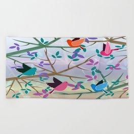 Birds On Branches Beach Towel