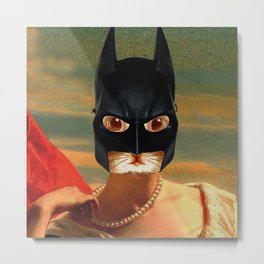 The Queen Cat - Bat Cat - Old Painting Style Cat Woman - Digital Collage Artwork Metal Print