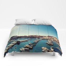 Old Town Harbor - Dubrovnik, Croatia Comforters
