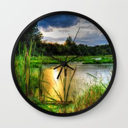 Sunset Over the Marsh Wall Clock