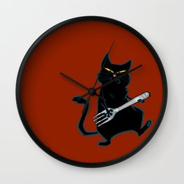 Cat with a fork Wall Clock