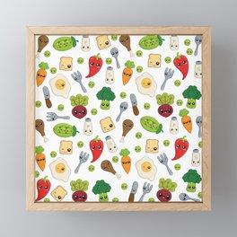 Cute Kawaii Food Pattern Framed Mini Art Print