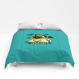 Adorable Puppy Pug on teal with hearts Comforters