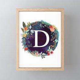 Personalized Monogram Initial Letter D Floral Wreath Artwork Framed Mini Art Print