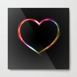Multi Neon Colored Heart Metal Print