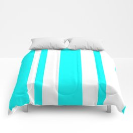 Mixed Vertical Stripes - White and Aqua Cyan Comforters