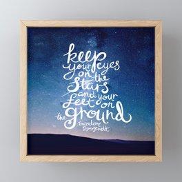 Eyes on the stars quote white lettering Framed Mini Art Print
