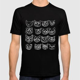 Blue and White Silly Kitty Faces T-shirt