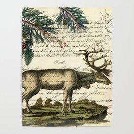 western country primitive christmas mountain animal wildlife winter pine tree elk Poster