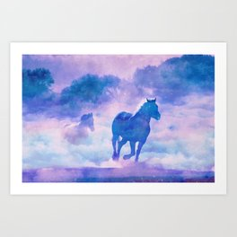 Horses run Art Print