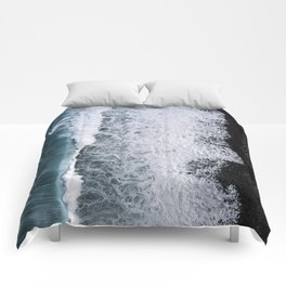 Aerial of a Black Sand Beach with Waves - Oceanscape Comforters