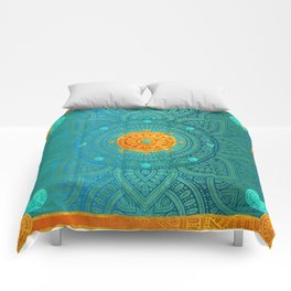 """Turquoise and Gold Mandala"" Comforters"