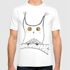 Squarish Owl Mens Fitted Tee White MEDIUM