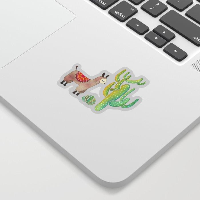 Cute alpacas with pink background Sticker