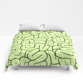 Zombie Brains in Lime Large Comforters