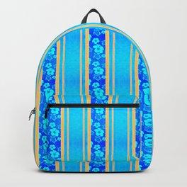 Blue Hibiscus Honu Stripes Backpack
