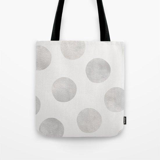 Silver Polka Dots Tote Bag