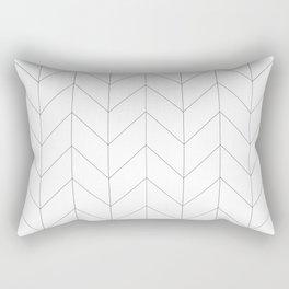 Herringbone Chevron (Thin Black On White) Rectangular Pillow