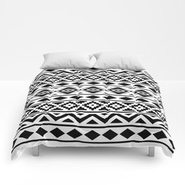 Aztec Essence Ptn III Black on White Comforters