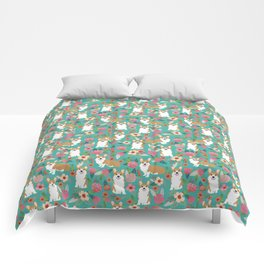 Corgi Florals - vintage corgi and florals gift gifts for dog lovers, corgi clothing,turquoise Comforters