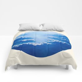 Mountains With Their Company Of Clouds Circle Photo Comforters