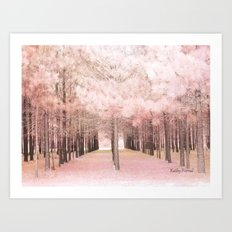 Pink Nature Woodlands Trees Baby Girl Nursery Decor Art Print