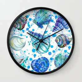 Seamless watercolor marine pattern. Endless texture. Hand draw. Collection of shells on white backgr Wall Clock