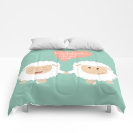 Happy Sheep Couple - I love that feeling I get when I see your smile - Happy Valentines Day Comforters