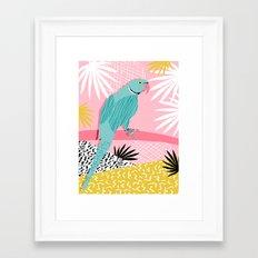 Doin' It - blue india ringneck parrot bird art wacka design animal nature retro throwback neon 1980s Framed Art Print