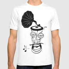 Music In My Head White MEDIUM Mens Fitted Tee