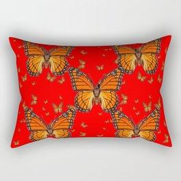 ORANGE MONARCH BUTTERFLIES RED MODERN ART MONTAGE Rectangular Pillow