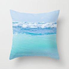 Kapukaulua Pure Blue Surf Throw Pillow