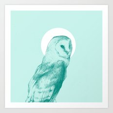 Wise Blue Owl Art Print