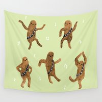 chewbacca Wall Tapestries featuring Wookie Dance Party by Sophie Corrigan