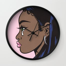 Crying Comic Black Girl Wall Clock