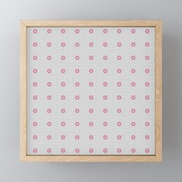 Pink Flower Hexagon Tile Pattern Framed Mini Art Print