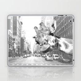 Black and White Selfie Giraffe in NYC Laptop & iPad Skin