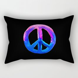 Pink Blue Watercolor Tie Dye Peace Sign Rectangular Pillow