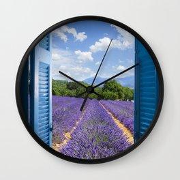 wooden shutters, lavender field Wall Clock