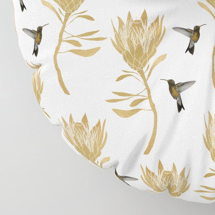 Hummingbird & Flower I Floor Pillow
