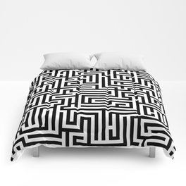 Black and white Labyrinth Comforters