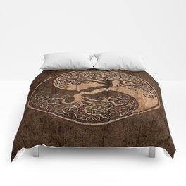 Rough Wood Grain Effect Tree of Life Yin Yang Comforters