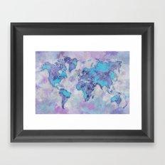 World Map Purple Framed Art Print