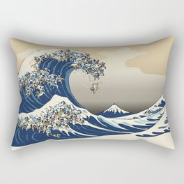 The Great Wave of Pugs Vanilla Sky Rectangular Pillow