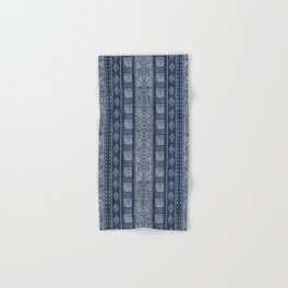 Mudcloth Navy Blue and White Vertical Tribal Pattern Hand & Bath Towel