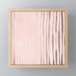 Rose Gold Pastel Pink Vertical Stripes Framed Mini Art Print