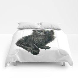 Black kitten Comforters